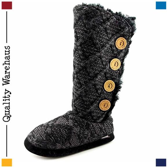 Muk Luks Malena Faux-Shearling Sweater Knit Slipper Boots BLACK Size Large 8//9